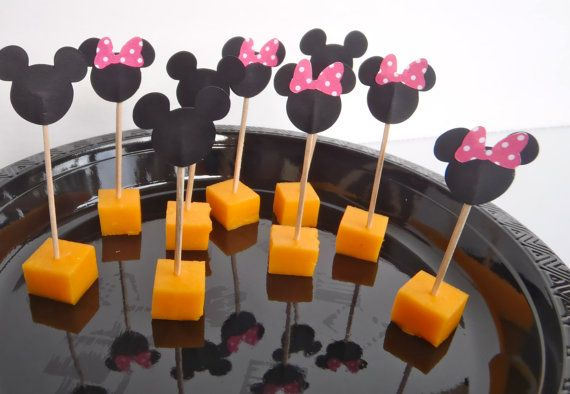 24 Food Picks for Mickey or Minnie Mouse Party  by FeistyFarmersWife, $6.00