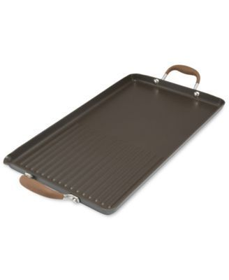 """Anolon Advanced Bronze 10"""" x 18"""" Double Burner Griddle and Grill Pan with Pour Spouts - Gold"""