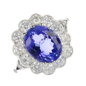 A tanzanite and diamond cluster ring.
