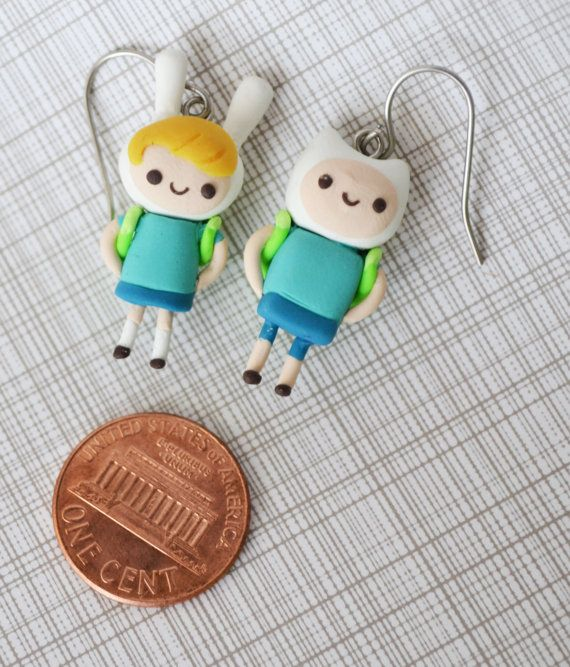 Finn and Fionna adventure time earrings, surgical steel