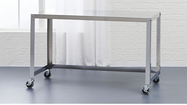 go-cart stainless rolling desk | CB2