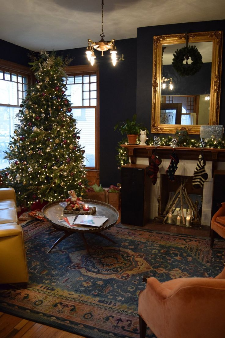 Meagen & Mike's Cherry Hill Victorian Decorated for the Holidays - the rug is amazing.