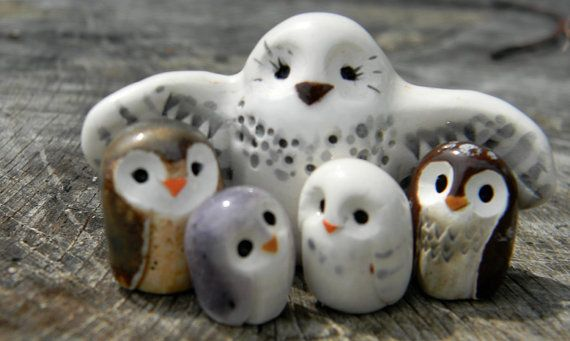 RESERVED for Sylvia Bright Clay Owl Family Harry by calicoowls