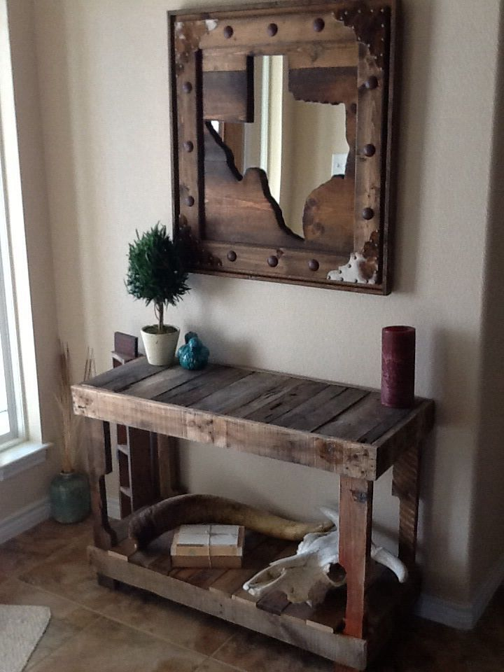 Handmade pallet entry table and Texas mirror