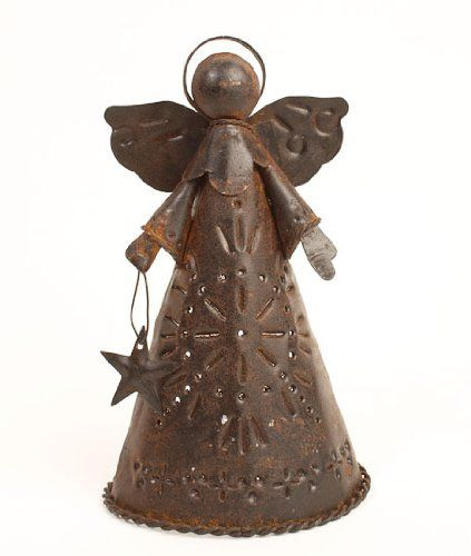 625u2033 high primitive style rusted metal angel tree topper or shelf sitter with star cutouts