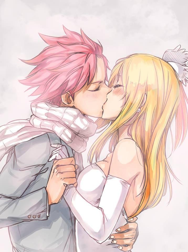 Natsu and Lucy kiss. It looks like their wedding.