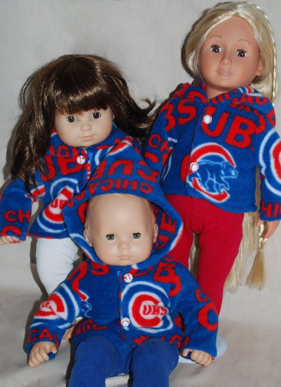 Chicago Cubs Hoodie Outfit / American Girl & Bitty Jacket and Pants / Doll Hoodie Outfit / Cubs Outfit