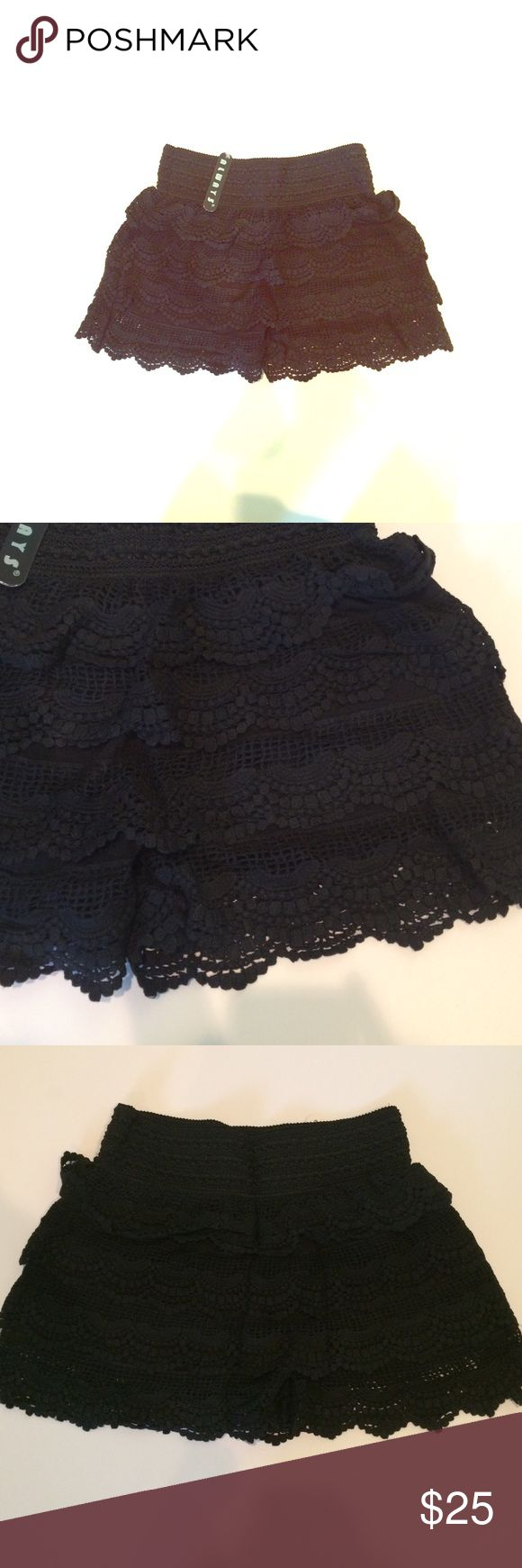 Black Crochet Shorts! Brand New! Never worn! Can be worn with almost anything! Shorts