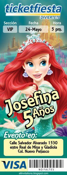 Plantilla de Invitación tipo Ticketmaster con el tema de la Princesa Ariel la sirenita
