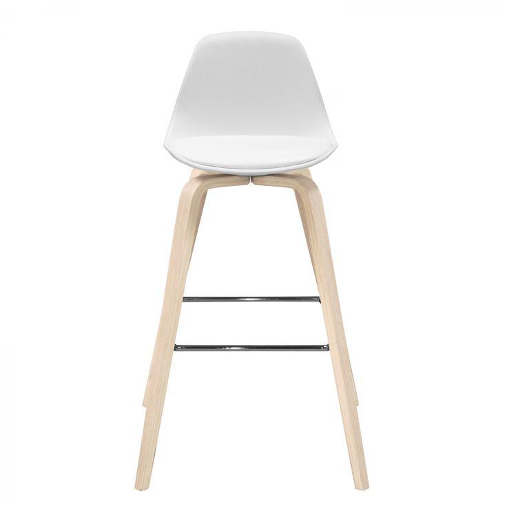 Chaise de bar Vallvik I - Bois courbé partiellement massif / Matière synthétique / Imitation cuir - Blanc