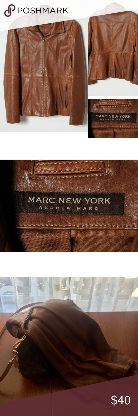 Marc New York $595 Leather Jacket whisky High-end leather jacket. It was retailed for roughly $600. Soft leather, feels great to the touch. Faded color here and there as real leather supposed to be. Very comfortable fit. Not too light nor too heavy. No major damage. Offer great price to serious buyer to enjoy it - for sure it will last for many seasons more to come. Smoke free pet free home. Ready to ship! andrew marc new york Jackets & Coats Blazers