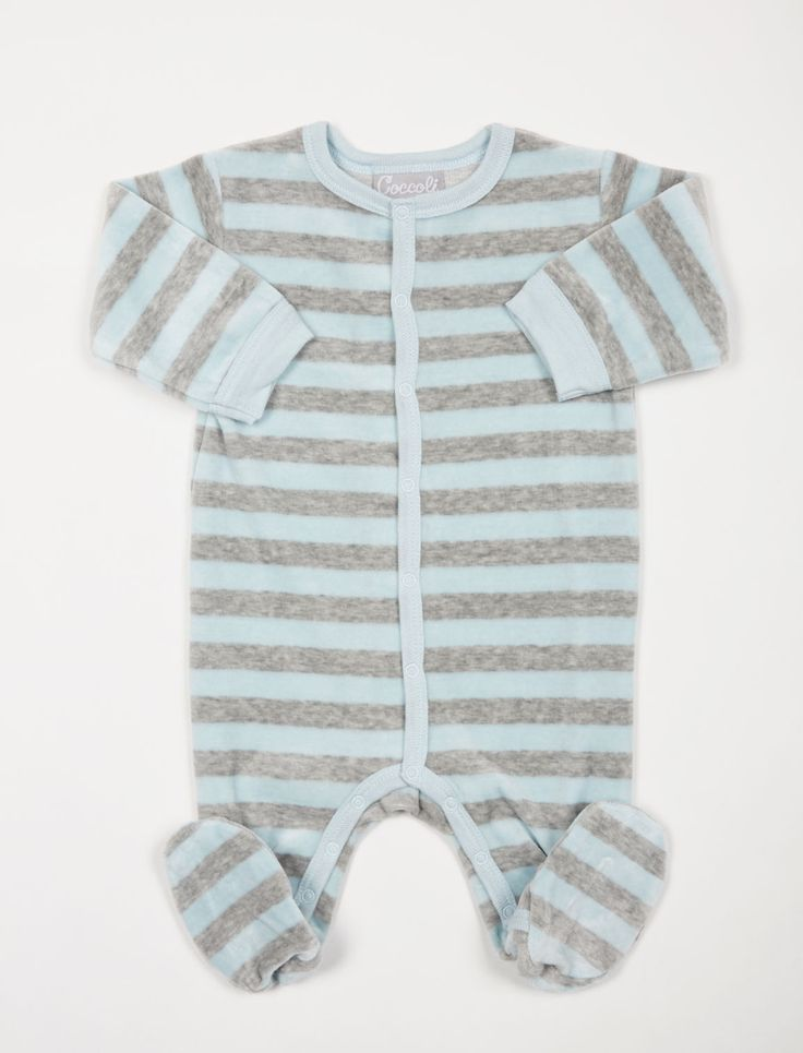 Baby boy in baby blue | striped newborn footie pajama by Coccoli available at A Pea in the Pod