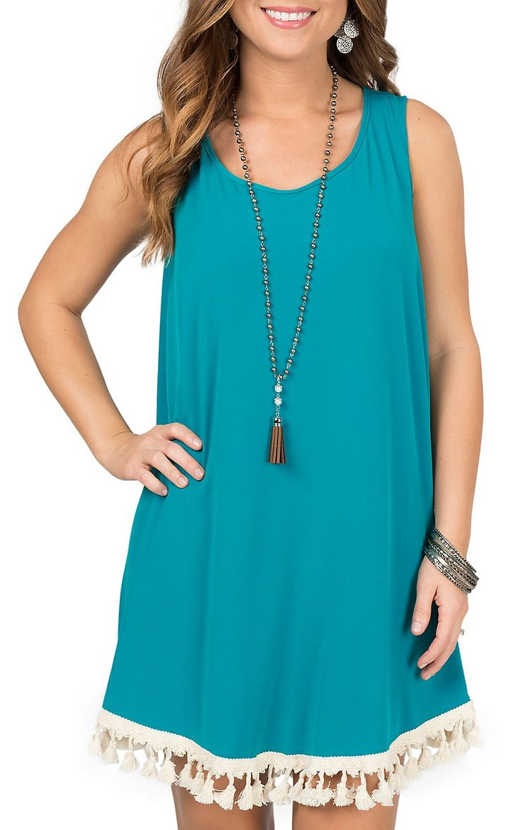 Judith March Turquoise with Cream Tassels Sleeveless Dress | Cavender's