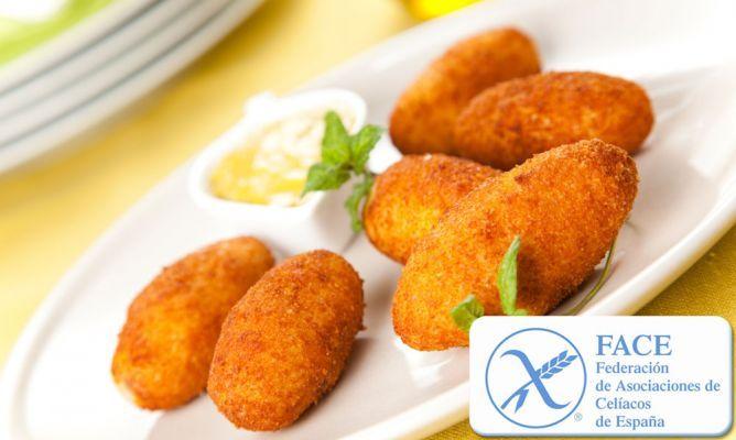 Receta de Croquetas de jamón para celiacos (sin gluten)Recuerden usar solo productos sin gluten y con el sello que los habilita como aptos para celiacos..