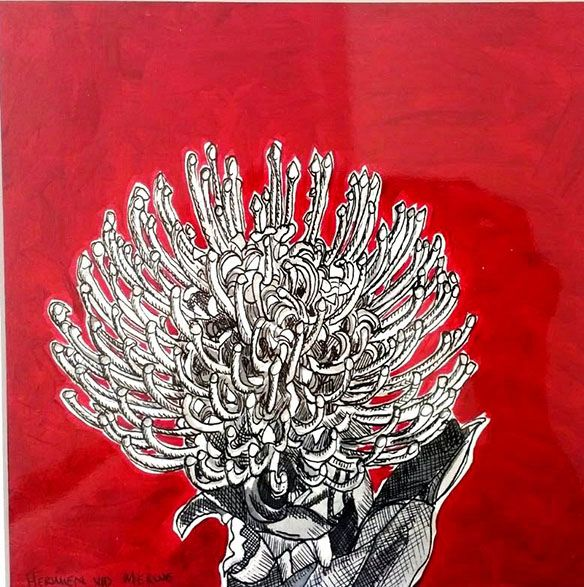 Title: Fynbos:  Table Mountain Fynbos 19 Medium: Pen-and-Ink drawing on paper with oil paint background Size: 200 x 200mm