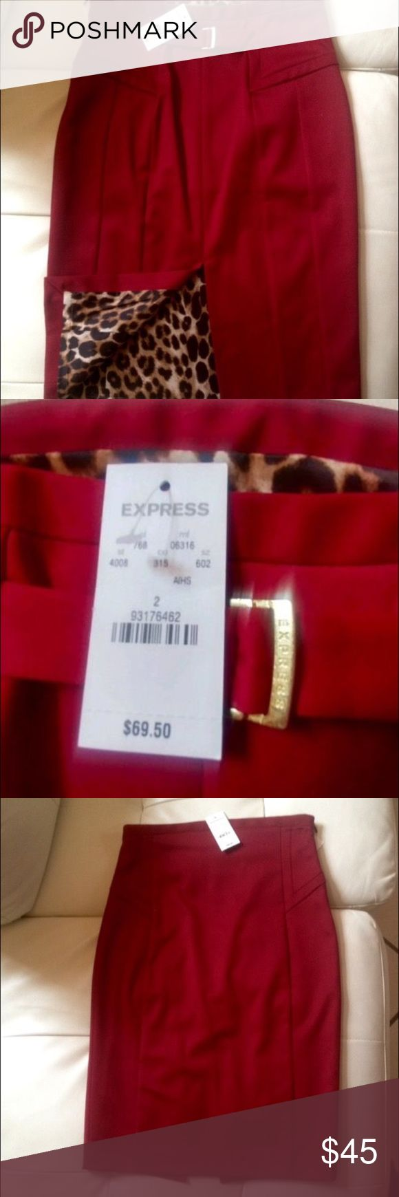 Express Pencil Skirt Brand new never used Express red and leopard pencil skirt in size 2. Satin leopard lining. Original tags attached. Retails for $69.00. Asking $45 or best offer. Express Skirts Pencil
