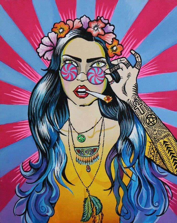 Stoner Hippie Art Hippie ladies, illustrations