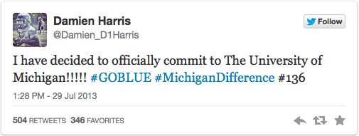 Michigan's recruiting momentum for 2015 is still picking up steam with potential five-star running back Damien Harris announcing via twitter his commitment to the Wolverines.