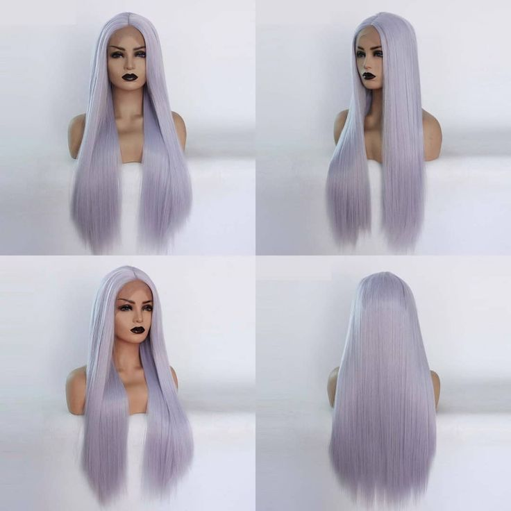 ☕️☕️☕️Long straight simple style Lace frontal wig with greyblue hair for cosplay, masquerade or makeup.@misswenhair #lacefrontal #purpleh