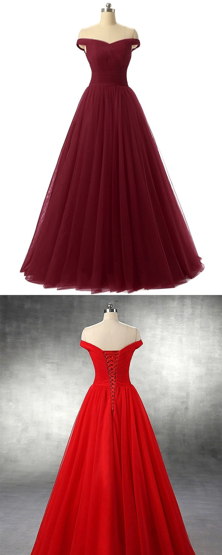 A-line Tulle Prom Formal Evening Dress,Sexy Burgundy Prom Dresses,Prom Dress,Off Shoulder Prom Dress, Homecoming Dress 2017,Ball Gown Prom Dress