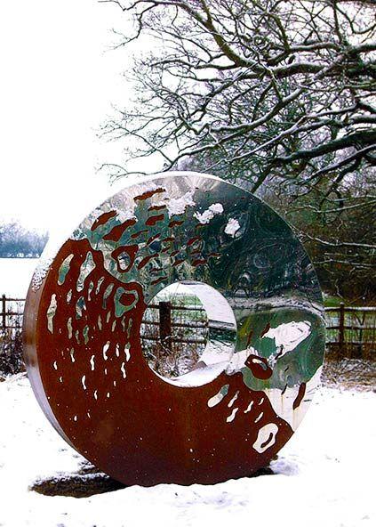 Metal Yard Sculptures   Portal Large Garden Sculpture In Two Interwoven  Metals