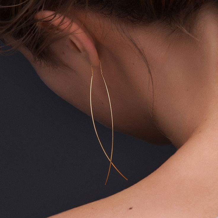 filigraner Ketten Ohrring Gold vergoldet zum durchziehen. Jetzt die limitierte Auflage versandkostenfrei ab bereits 65€ bestellen.