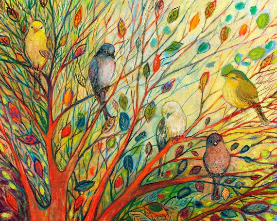 """Vivid birds - """"Waiting in a Rainbow Tree"""" - Fine Art Print by Jenlo, 8x10 and larger"""