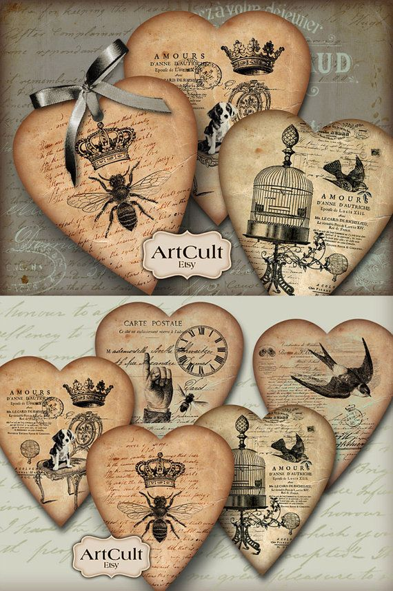 HEART GIFT TAGS No2 - Digital Collage Sheet Printable Download Jewelry Holders Vintage Valentine Paper Craft