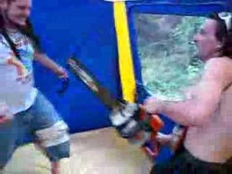 2 kiwi's 1 chainsaw