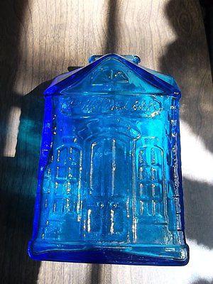 6-tall-Blue-glass-1st-National-Bank-coin-bank-Wheaton-NJ