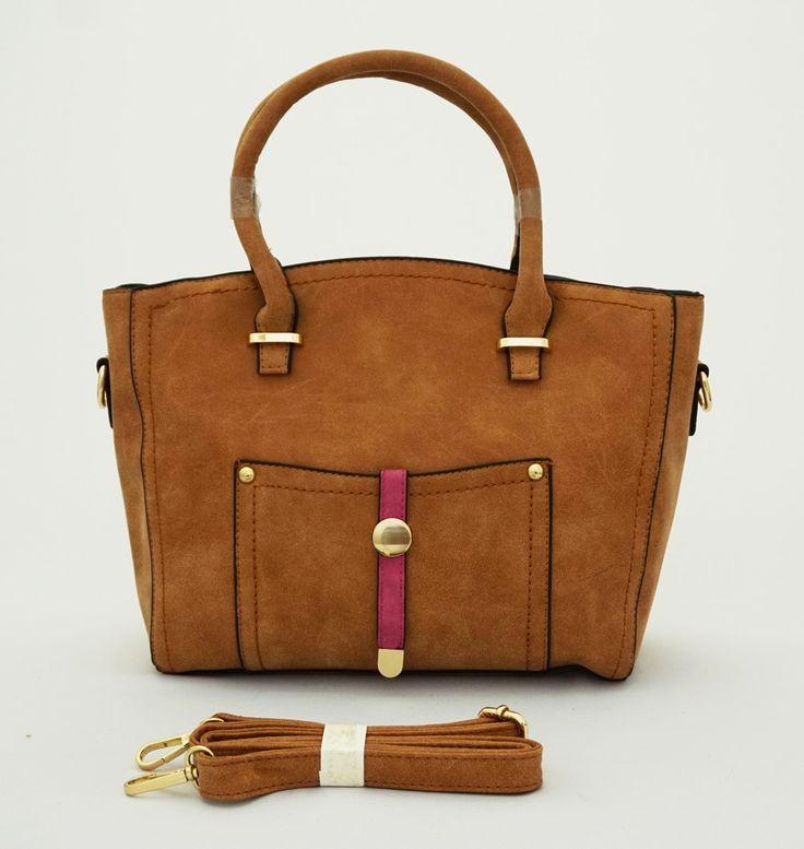 Belle Import Bag, stylish. Good quality. Bisa tenteng dan tali panjang selempang. Warna coklat. Uk 35x13x26 (SKU: AELFBS) - Rp. 198.000 - Gaun Tas: Tas Wanita Impor