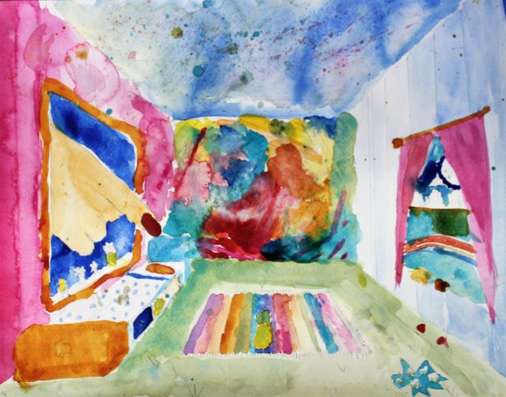 Watercolour painting, using perspective & surrealism, by Sophie.