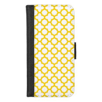 Yellow Quatrefoil Pattern iPhone 8/7 Wallet Case - pattern sample design template diy cyo customize