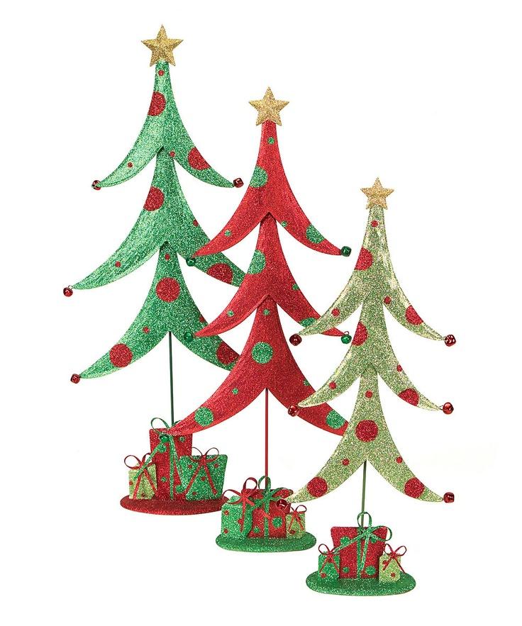 Whimsical Christmas Trees Ideas: Glitter Tree Figurine - Set Of Three $43.99