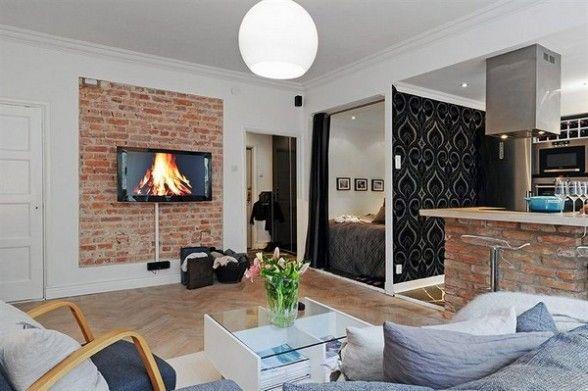 sala moderna com tijolos de demolição