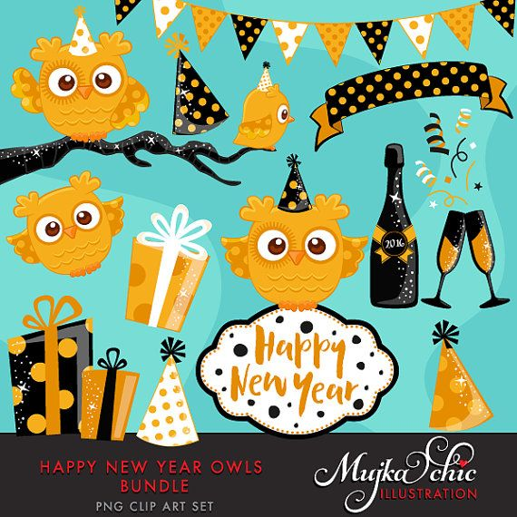 Happy New Year Owls Bundle Clipart With Cute Owls New Year Etsy Clip Art Cute Owl Scrapbooking Set