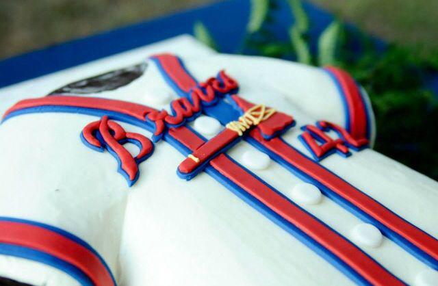 Fall wedding grooms baseball cake atlanta braves