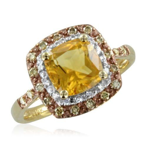 Fabulous Natural Citrine and Brown Diamond Anniversary Ring k Yellow Gold H SI