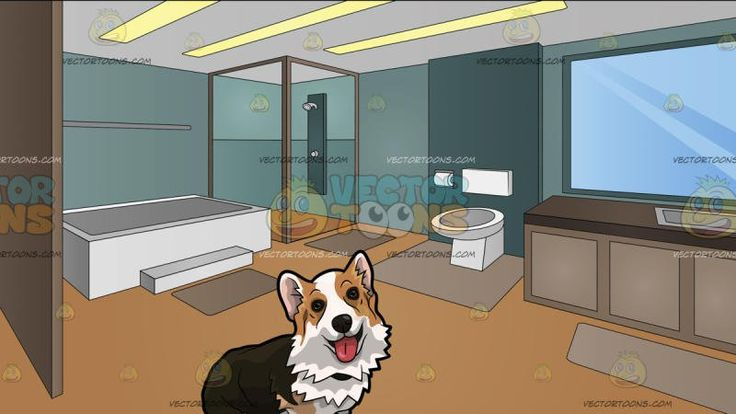 An Adorable Small Dog With Its Tongue Sticking Out With A Modern Master Bathroom Background:  A dog with dark brown golden brown and white fur sitting on the floor as it opens its mouth to reveal a pink tongue and A big masters bathroom with an enclosed shower in the corner white bathtub toilet and sink huge mirror in front of a brown counter tan colored rugs and teal wall three yellow rectangular panel ceiling lights