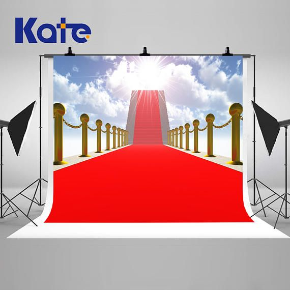 Red Carpet Ladder Sunny Blue Sky Photography Backdrops No