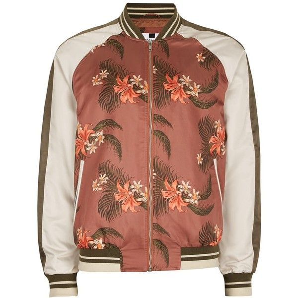 TOPMAN Tropical Stripe Lightweight Bomber Jacket ($64) ❤ liked on Polyvore featuring men's fashion, men's clothing, men's outerwear, men's jackets, brown, mens summer jackets, mens light weight jackets, mens striped jacket, mens lightweight summer jackets and mens brown jacket