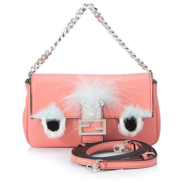 Pre-owned Fendi Bag Bugs Micro Baguette ($620) ❤ liked on Polyvore featuring bags, handbags, pink, fox handbags, chain handle handbags, pink purse, preowned handbags and magnetic closure handbags