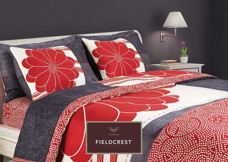 RED BLOSSOM - Fieldcrest - ROYAL SATTEN collection.  Includes sheets, pillowcases, duvetcovers, comforters, couvr-lit. Exclusive at bedandbath stores and www.bedandbath.gr