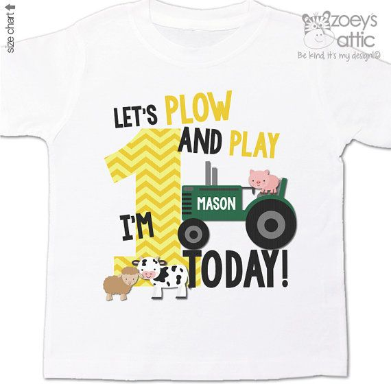 First 1st birthday shirt - green tractor plow and play farm birthday party shirt - with or without farm animals