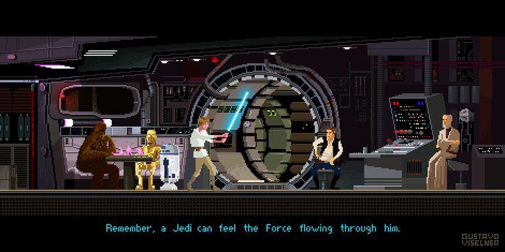 Star Wars - Millenium Falcon  Pixel Artist: Gustavo Viselner Source: behance.net