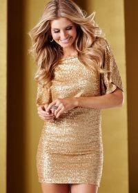 Gold Open Back Sequin Dress by Venus...    $42.00