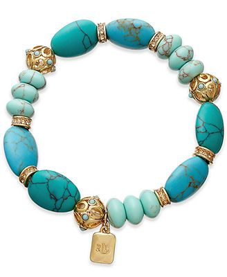 Lauren Ralph Lauren 14k Gold-Plated Reconstituted Turquoise Beaded Stretch Bracelet