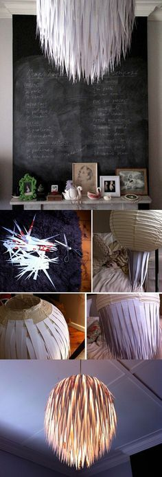 Paper Lampshades - Can actually do this over colourful lamp shades to make it go more with your decor