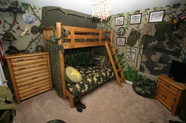 The Pictures of Boys Bedroom Designs that Inspires: Awesome Boys Bedroom Designs Camouflage Themeed With Bunk Beds Also Round Cushion With Star Image Also Small Wooden Tv Table And Adorable Bean Bag ~ camerdesign.com Bedroom Design Inspiration