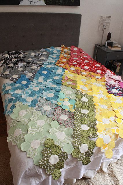 Hexagon Quilt Progress...a year later | Flickr - Photo Sharing!